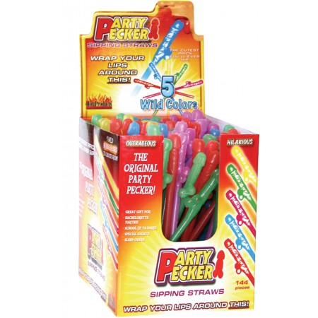 Party Pecker Sipping Straws Display (Assorted Colors)