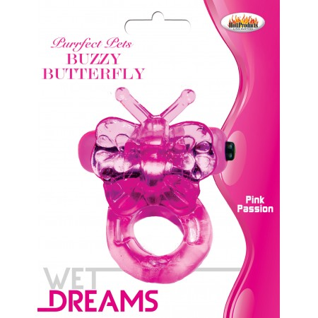 Buzzy Butterfly Cock Ring (Purfect Pets Series pink)
