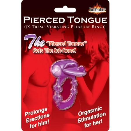 Pierced Tongue Vibrating Cock Ring (purple)