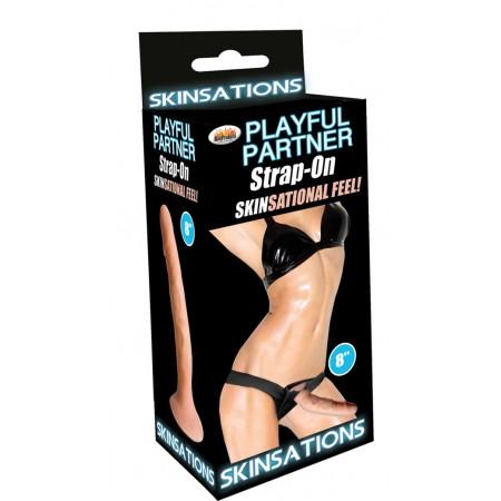 "Playful Partner 8"" Strap-On (White)"